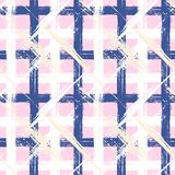 Plaid pattern with wide brushstrokes and stripes. Vector seamless bold plaid pattern with wide brushstrokes and stripes in multiple pastel colors: white, navy stock illustration