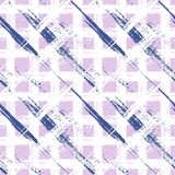 Plaid pattern with wide brushstrokes and stripes. Vector seamless bold plaid pattern with wide brushstrokes and stripes in multiple pastel colors: white, navy Royalty Free Stock Photo