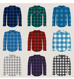 Plaid Patterned Shirts for Men Vector Set. Vector Set of Patterned Plaid Shirts. Checked gingham, madras and lumber jack fabric styles Royalty Free Stock Images
