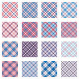 Plaid patterns collection, pink and blue shades Stock Image