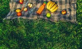 Plaid pour un pique-nique sur l'herbe Photographie stock libre de droits