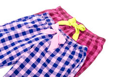 Plaid Pyjamas Pants #1. Plaid Pyjamas Pants Isolated on White #1 Stock Images