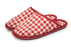 Plaid Room Shoes isolated on white background Stock Photos