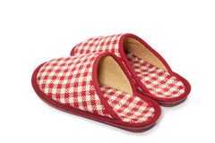 Plaid Room Shoes on white background Royalty Free Stock Images