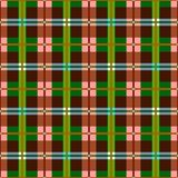 Plaid, seamless pattern, brown, green, vector background. Brown and green squares and rectangles and thin lines on a pink field. Colorful, geometric background Stock Photography
