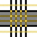 Plaid seamless tartan pattern. Twill texture. Seamless tartan pattern. Plaid yellow black white palette repeated tartan pattern. Twill texture Vector vector illustration