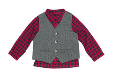 Plaid shirt with vest, isolate Royalty Free Stock Photo