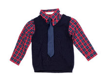 Plaid shirt with a vest and tie, isolate Royalty Free Stock Photos