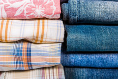 Plaid Shirts and Jeans Stacked Royalty Free Stock Photo