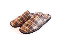 Plaid slippers. Men's checked slippers on white background Royalty Free Stock Photos