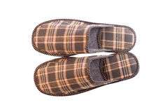 Plaid slippers. Men's checked slippers on white background Stock Photography