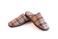 Plaid slippers. Men's checked slippers on white background Royalty Free Stock Photography