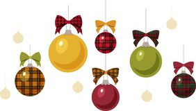 Plaid and Solid Christmas Ornaments. Plaid and solid hanging Christmas ball ornaments isolated on a white background Royalty Free Stock Photo