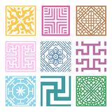 Plaid Symbol sets. Geometric Pattern Design. Korean traditional Stock Images