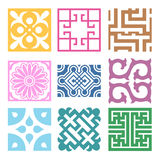 Plaid Symbol sets. Geometric Pattern Design. Korean traditional Royalty Free Stock Photos