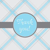 Plaid thank you. Thank you note with a blue and grey plaid background Royalty Free Stock Photography