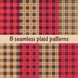 Plaid-und Büffel-Kontrollmuster Rote, schwarze, beige Plaid-, Schottenstoff-und Gingham-Muster stock abbildung