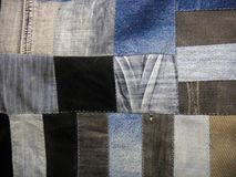 Plaid von alten Jeans, Details Stockfotografie