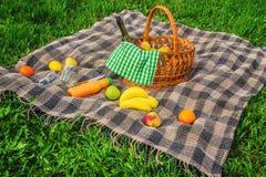 Plaid voor een picknick op het gras Royalty-vrije Stock Foto's