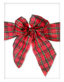 Plaid Xmas Package Bow Stock Photo