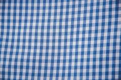 Plaidmateriaal de textuur vierkant blauw van de patroonstof Stock Fotografie