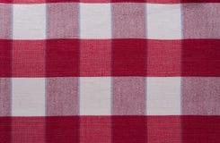 Plaidmuster des roten Kreuzes - rote Schottenstoff-Kleidungs-Tabelle Stockbilder