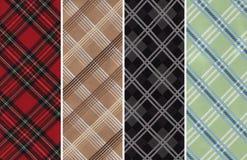 Plaids Textile Swatches. Details of Four Cotton Textile Swatches with Plaids Stock Images