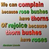 Plaignez-vous ou réjouissez-vous la citation - Abraham Lincoln Image stock