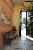 Plain-air interior 2. Interior garden in neoclassical villa. View at the gate royalty free stock photography
