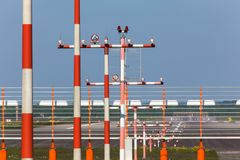 Airport beacons in daylight. Plain airport beacons in daylight Stock Photos