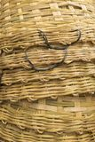 Plain bamboo stack basket weave surface. Background of stack of big bamboo basket weave surface Royalty Free Stock Photography
