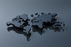 Plain black map of the world Stock Photo