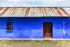Plain blue painted house exterior, Central America royalty free stock photos