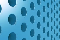 Plain blue surface with cylindrical holes Royalty Free Stock Photo