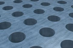 Plain blue wooden surface with cylindrical holes Stock Photo
