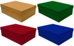Plain boxes on white background Royalty Free Stock Photos