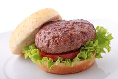 Plain burger in a plate Royalty Free Stock Photography