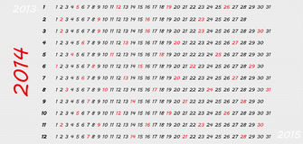 2014 plain calendar. Simple 2014 horizontal year calendar with highlighted Sundays Royalty Free Stock Photos