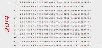 2014 plain calendar. Simple 2014 horizontal year calendar with highlighted Sundays royalty free illustration