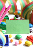 Plain card with party decoration background Stock Photo