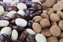 Plain and Chocolate Coverd Kruidnoten Royalty Free Stock Images