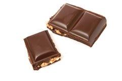 Plain chocolate with hazelnuts Royalty Free Stock Photos