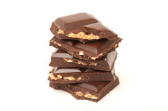 Plain chocolate with hazelnuts Stock Images