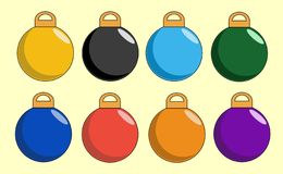 Plain Christmas Baubles. Plain, single-coloured christmas baubles vector illustration