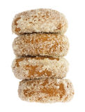 Plain coconut flake donuts stack on a white background Stock Photography