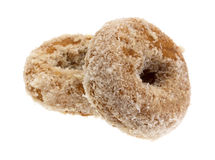 Plain coconut flake donuts on a white background Stock Photo