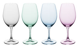 Plain & colored wine glass. Multi colored empty wine glasses Stock Image