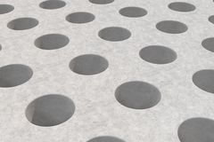 Plain concrete surface with cylindrical holes Royalty Free Stock Photos