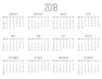 Year 2018 monthly calendar. Plain contemporary year 2018 vector monthly white calendar. Week starting from Sunday Royalty Free Stock Photo