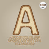 Plain Donut Alphabet and Digit Vector. Set of Plain Donut Alphabet and Digit Vector Stock Photography